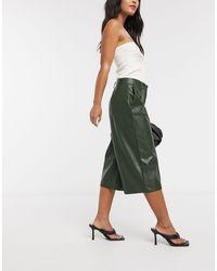 Vero Moda Шорты Из Искусственной Кожи Цвета Хаки -зеленый