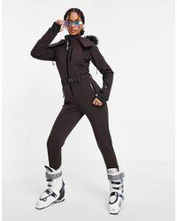 ASOS 4505 Приталенный Лыжный Комбинезон С Отделкой Искусственным Мехом На Капюшоне И Поясом Ski-коричневый