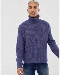 ASOS Roll Neck Fisherman Rib Sweater In Denim Blue