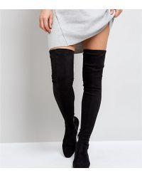 ASOS - Asos Kasba Petite Flat Over The Knee Boots - Lyst