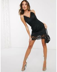 Missguided Crochet Plunge Mini Dress - Black