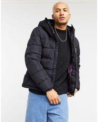 Pull&Bear Черная Дутая Куртка С Капюшоном -черный