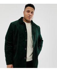 ASOS - Plus Single Breasted Trench Coat In Cord In Bottle Green - Lyst