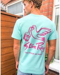 Stan Ray T-shirt verde con stampa di colomba sul retro