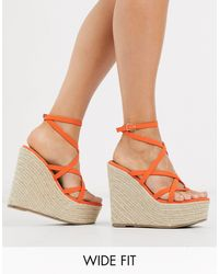 ASOS Wide Fit Work Espadrille Wedges - Pink