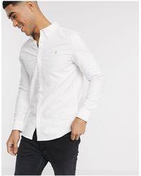 Farah Белая Оксфордская Рубашка Приталенного Кроя Brewer-белый