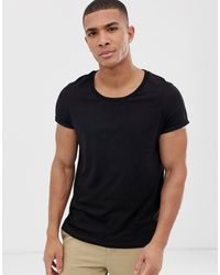 ASOS T-shirt With Scoop Neck And Roll Sleeve - Black