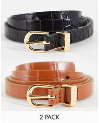 Miss Selfridge Isabelle Double Croc Belt - Black