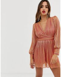 TFNC London Pleated Playsuit With Long Sleeves In Glitter - Multicolour