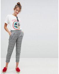 Pull&Bear - Check Print Peg Leg Trousers - Lyst