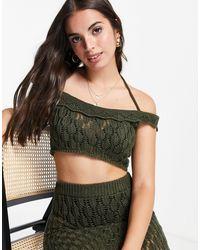Miss Selfridge Khaki Crochet Halterneck Top Co-ord - Brown
