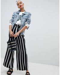 Pieces - Stripe Wide Leg Paper Bag Trousers - Lyst