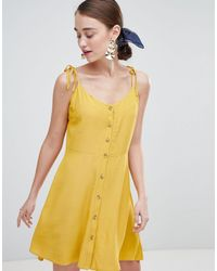 New Look Button Through Strappy Sundress - Yellow