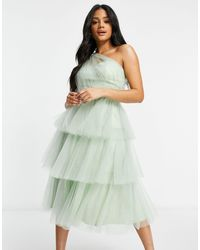 Chi Chi London One Shoulder Tiered Tulle Dress - Green