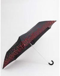 Lulu Guinness Parapluie avec lèvres scintillantes - Noir