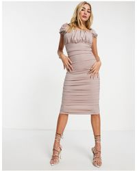 AX Paris Square Neck Midi Dress - Pink