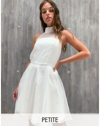 Chi Chi London Baby Prom Dress With Sheer Detail - White