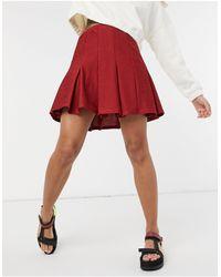 ASOS - Minifalda plisada burdeos estilo tenis - Lyst