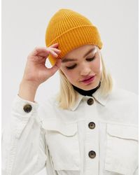 ASOS Boyfriend Double Roll Beanie In Recycled Polyester In Orange - Yellow