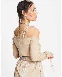 Weekday Zenia Organic Blend Cotton Crop Top With Strap Detail - Natural