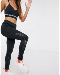 Under Armour – Cold Gear – e Leggings mit Colourblockdesign im Military-Look - Schwarz