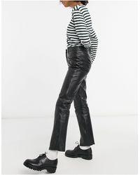 Muubaa Pantalon taille haute ajusté en cuir - Noir