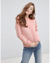 Pieces - Velvet Sweatshirt - Lyst