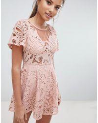 Love Triangle Lace Romper - Pink