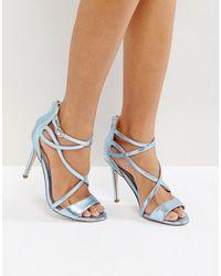 Miss Kg Fiesta Metallic Strap Heeled Sandals - Blue
