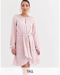 Y.A.S Атласное Платье Мини С Длинными Рукавами И Узлом -розовый