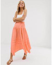 715fbd353 Falda larga Elisabetta Franchi de color Naranja - Lyst