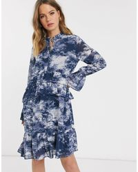 Y.A.S Shift Dress With Drop Hem And Ruffle Trims - Blue