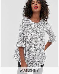 New Look - Черная Свободная Блузка С Узором И Баской -кремовый - Lyst