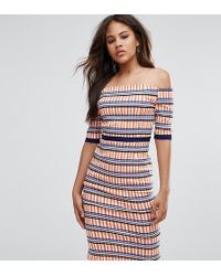 Vesper - Overlay Pencil Dress In Check Print - Lyst