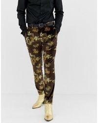 ASOS Skinny Suit Trouser In Velvet With Floral - Black