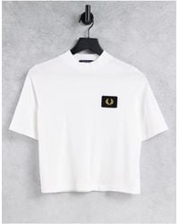 Fred Perry High Neck T-shirt With Branded Badge - White