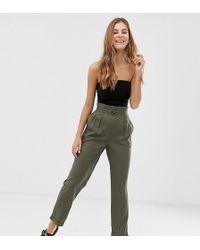 Pimkie Paper Bag Waist Trousers In Green - Black