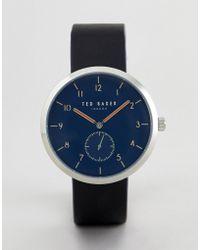 Ted Baker - Te50011007 Josh Leather Watch In Black 42mm - Lyst