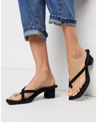 Mango Low Heeled Flip Flop Sandal - Black