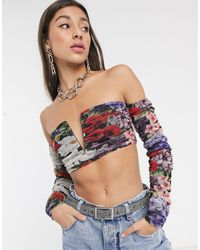New Girl Order Bardot Ruched Crop Top - Multicolour