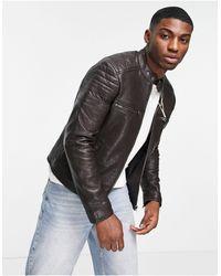 Barneys Originals Barney's Racer Leather Jacket - Brown