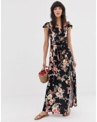 Band Of Gypsies Button Front Off Shoulder Maxi Dress In Black Floral Print