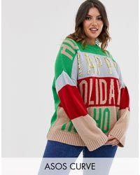 ASOS Asos Design Curve Christmas Embellished Oversized Jumper - Green