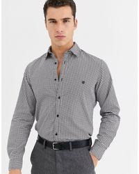 Jack & Jones – Premium – Schmal geschnittenes Hemd mit kleinem Hahnentrittmuster - Grau