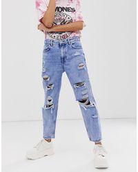 Bershka – e Mom-Jeans mit starken Rissen - Blau