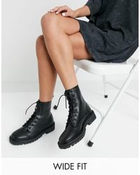 Raid Wide Fit Vinita Flat Chunky Lace Up Ankle Boots - Black
