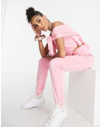 adidas Originals 'relaxed Risqué' Velour Trackies - Pink