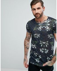 ASOS - Longline T-shirt With Floral Print In Linen Look - Lyst