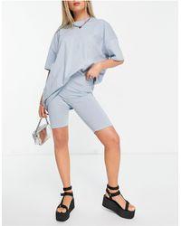 ONLY - Комплект-двойка Из Oversized-футболки И Шортов-леггинсов Голубого Цвета -голубой - Lyst