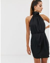 b896a0e3d14 Missguided - Satin Ruched Detail Halter Mini Dress In Black - Lyst